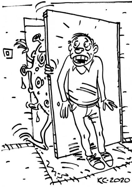 Карикатура: Ковид19 ломится в дом, Вячеслав Капрельянц