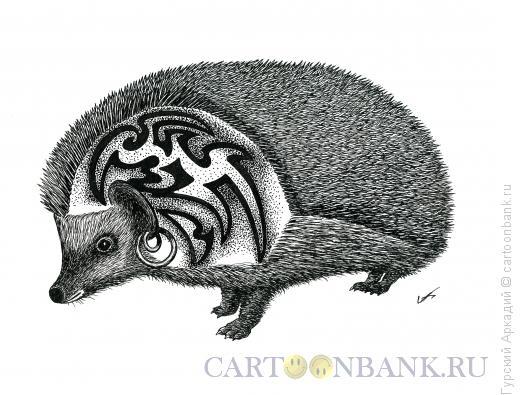 Карикатура: ёжик с татуировкой, Гурский Аркадий