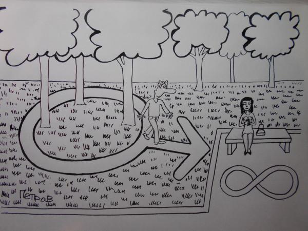 Карикатура: Женщина и мужик, Петров Александр