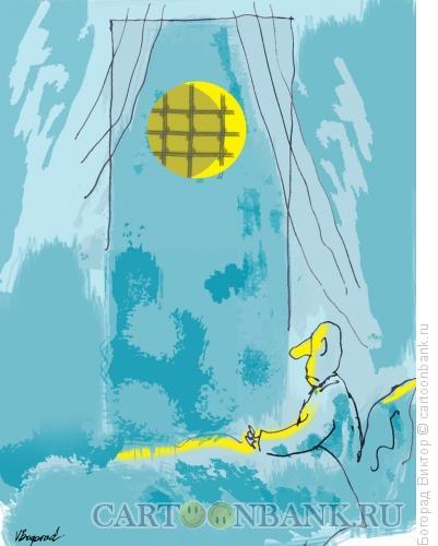 Карикатура: Ночной вид из окна, Богорад Виктор