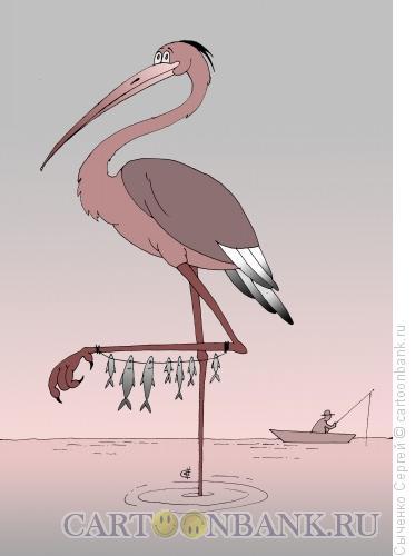 Карикатура: Цапля, Сыченко Сергей