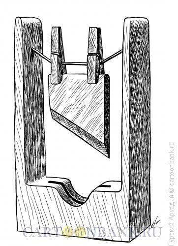 Карикатура: гильотина на прищепках, Гурский Аркадий