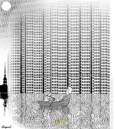 Карикатура: Санкт-Петербург и небоскребы, Богорад Виктор
