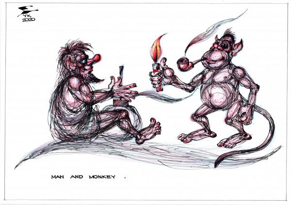 Карикатура: Человек и обезьяна ., Юрий Косарев
