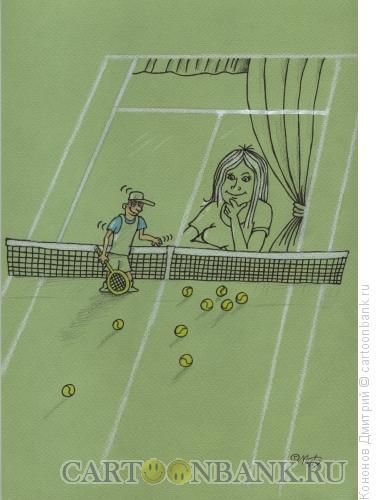 Карикатура: Теннисное окно, Кононов Дмитрий