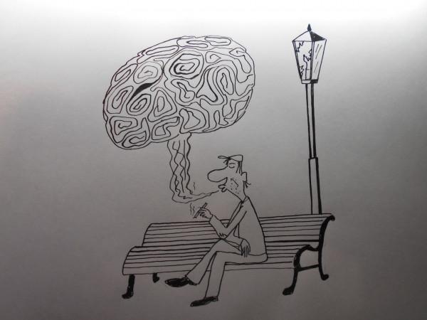 Карикатура: Курильщик, Петров Александр