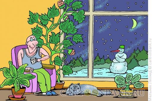 Карикатура: Тепло в доме, Мельник Леонид