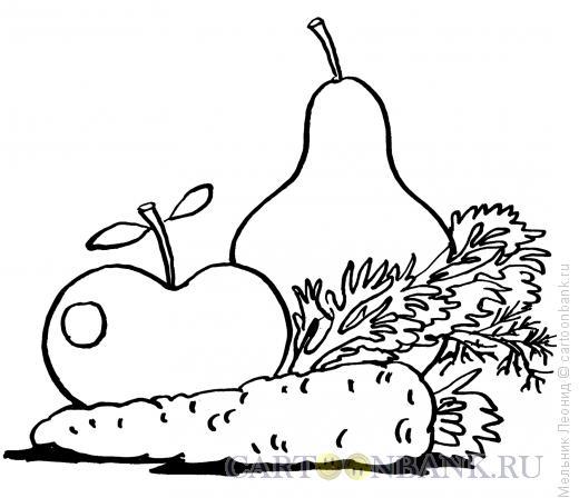 Карикатура: Овощи к салату, Мельник Леонид