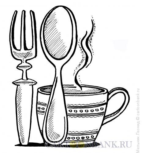 Карикатура: Столовые приборы, Мельник Леонид