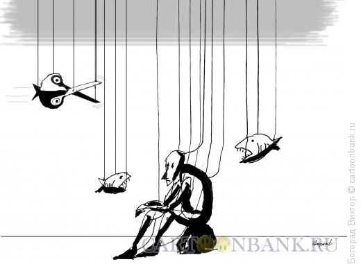 Карикатура: Марионетка- мыслитель, Богорад Виктор