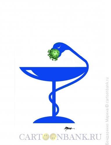 Карикатура: Змея, Коронаварус, Символ, Медицина, Бондаренко Марина