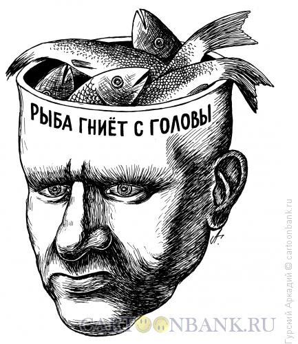 Карикатура: рыбы в голове, Гурский Аркадий