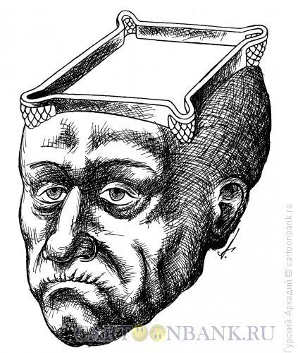Карикатура: голова-бильярдный стол, Гурский Аркадий