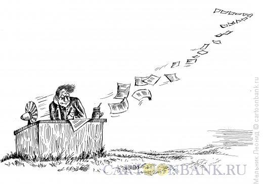 Карикатура: Литератор, Мельник Леонид