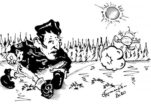 """Карикатура: """"ТВИСТ"""" С КОСМОНАВТОМ., Константин Мухоморов"""