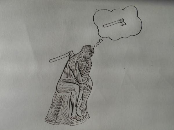 Карикатура: Мыслитель, Петров Александр