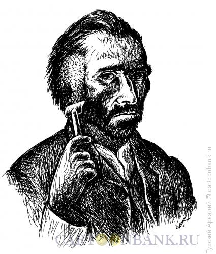 Карикатура: Ван Гог и бритва, Гурский Аркадий