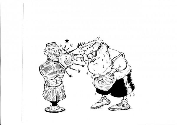 Карикатура: НЕРАВНЫЙ БОЙ., Константин Мухоморов