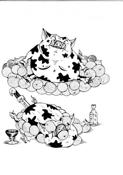 Карикатура: СВИНЬЯ И АПЕЛЬСИНЫ., Константин Мухоморов