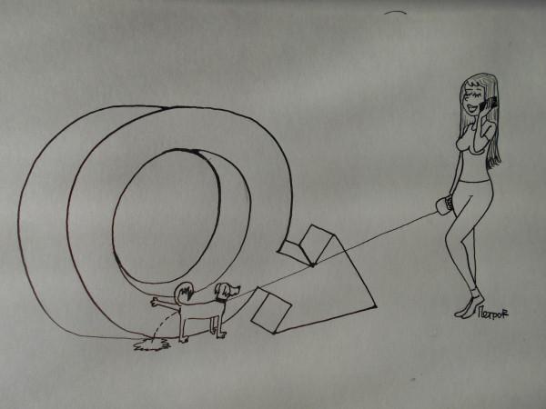 Карикатура: Дама с собачкой, Петров Александр