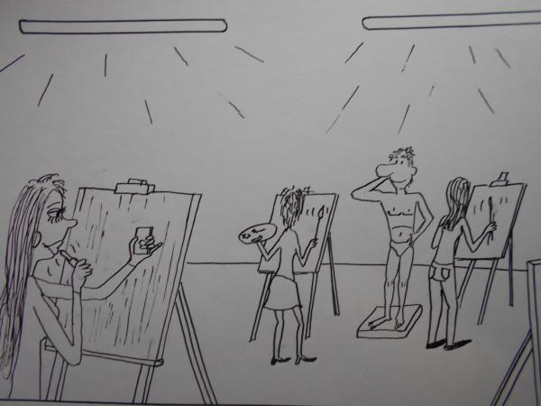 Карикатура: Художница, Петров Александр