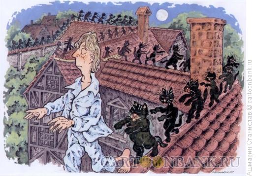 Карикатура: Ночная прогулка, Ашмарин Станислав
