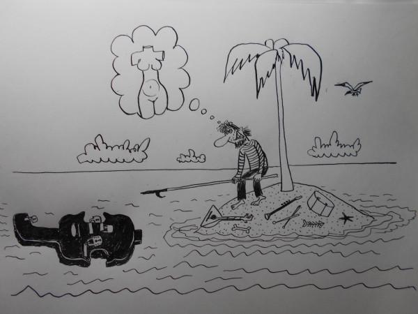 Карикатура: История с контробасом(робинзон), Петров Александр