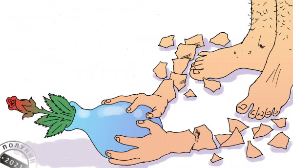 Карикатура: ЦВЕТУЩИЙ ОБЛОМ, АЛЕКСАНДР ПОЛУНИН