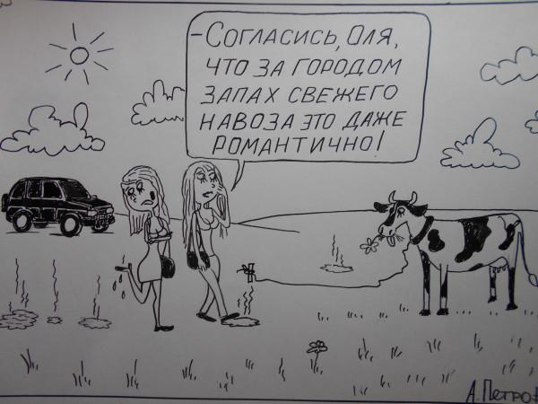 Карикатура: Девушки за городом, Петров Александр