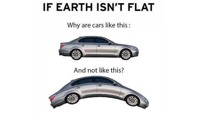 Мем: Если земля не плоская, то почему автомобили плоские, а не изогнутые?