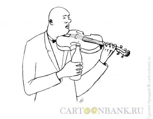 Карикатура: скрипач, Гурский Аркадий