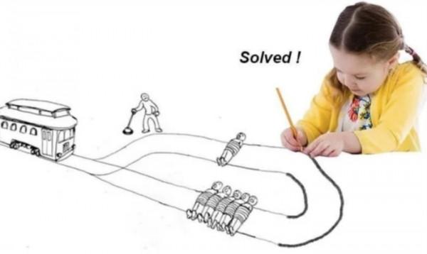 """Мем: Решение """"проблемы вагонетки"""" в стиле Греты Тунберг."""