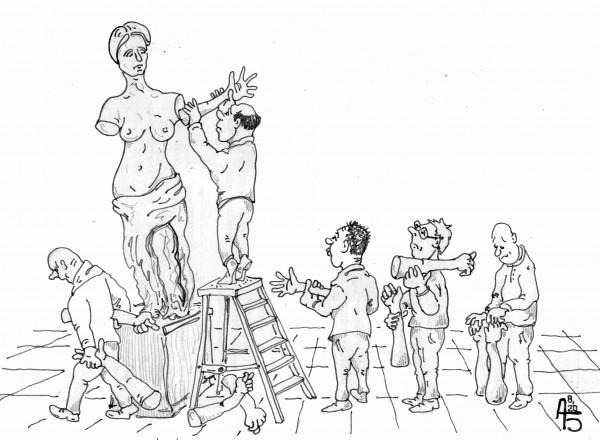 Карикатура: Примерка, backdanov