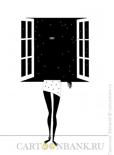 Карикатура: У окна, Тарасенко Валерий