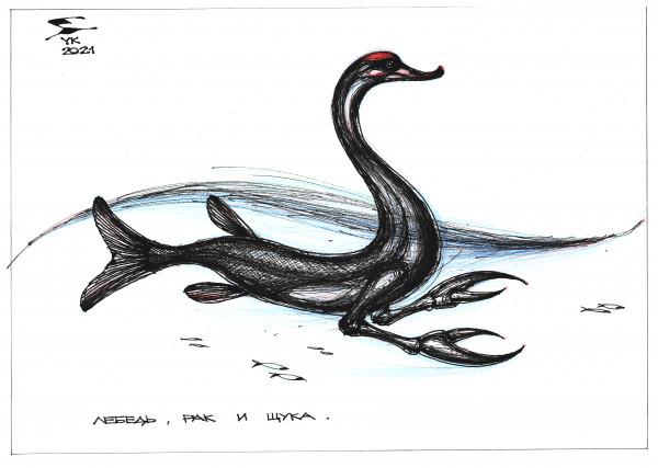 Карикатура: Лебедь , рак и щука ., Юрий Косарев