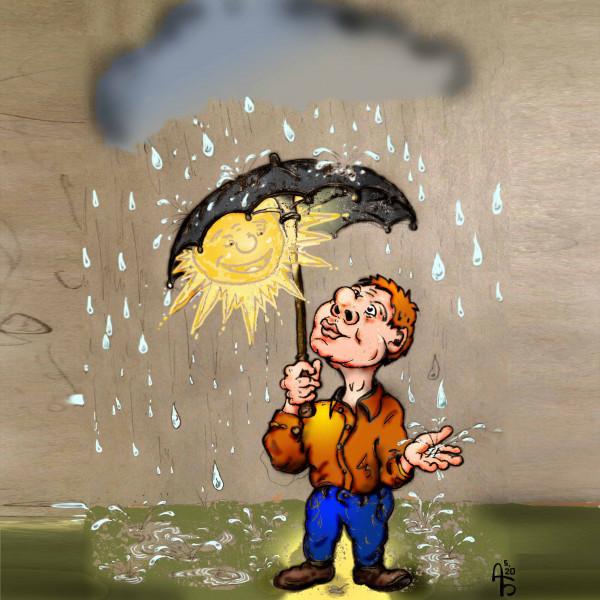 Карикатура: Под дождем., backdanov