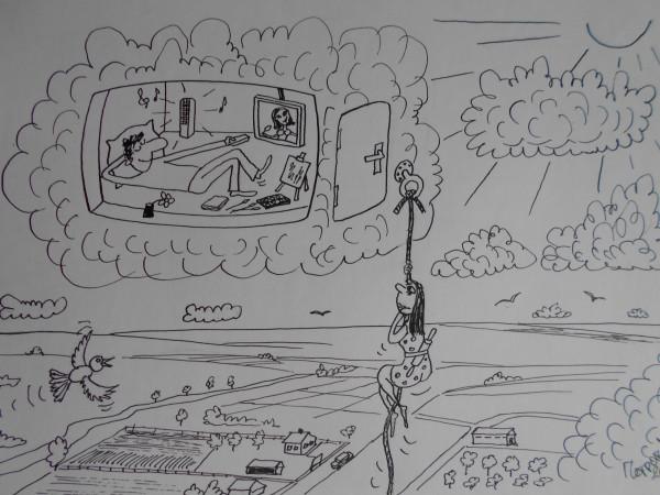 Карикатура: Мужчина на облаке и женщина, Петров Александр
