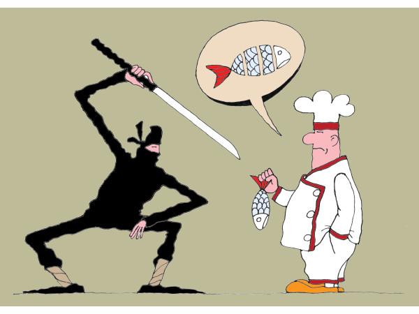 Карикатура: Ниндзя и повар, Михаил Ларичев