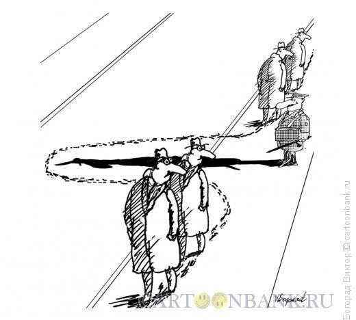 Карикатура: Боязнь наступить на тень милиционера, Богорад Виктор