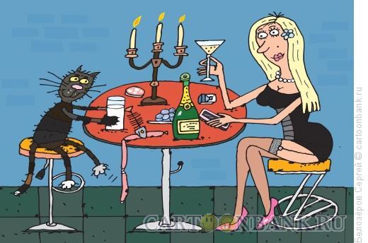 Карикатура: Девушка и кот, Белозёров Сергей