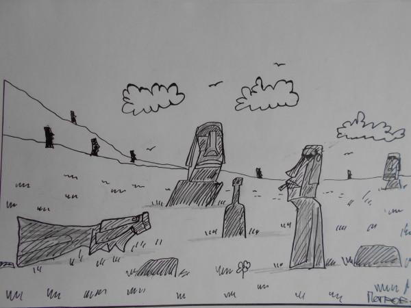 Карикатура: Идолы острова Пасхи, Петров Александр