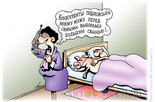 Карикатура: Подложили свинью, Кийко Игорь