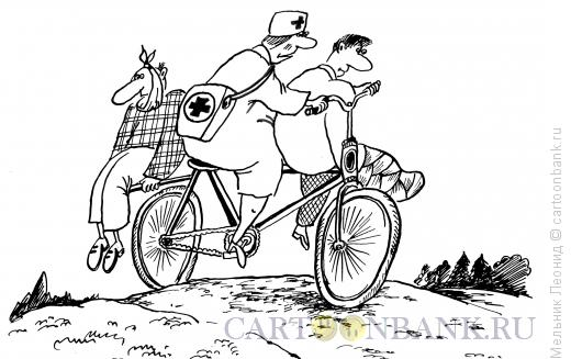 Карикатура: Деревенская скорая помощь, Мельник Леонид