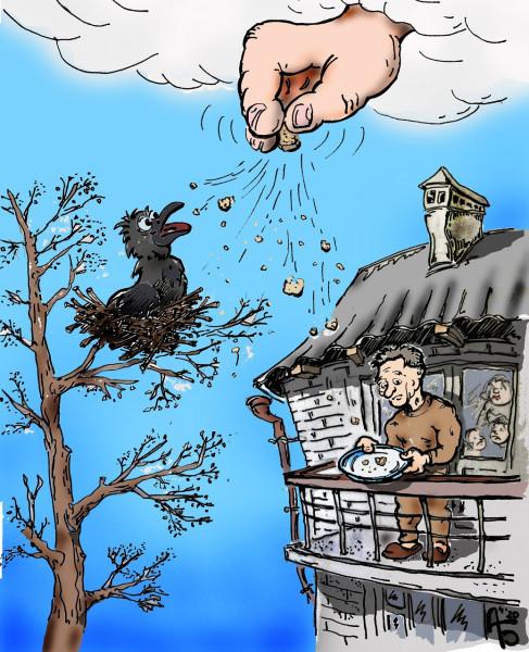 Карикатура: Да не оскудеет рука дающего, backdanov