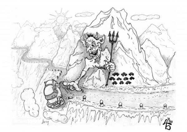 Карикатура: Горная дорога, backdanov