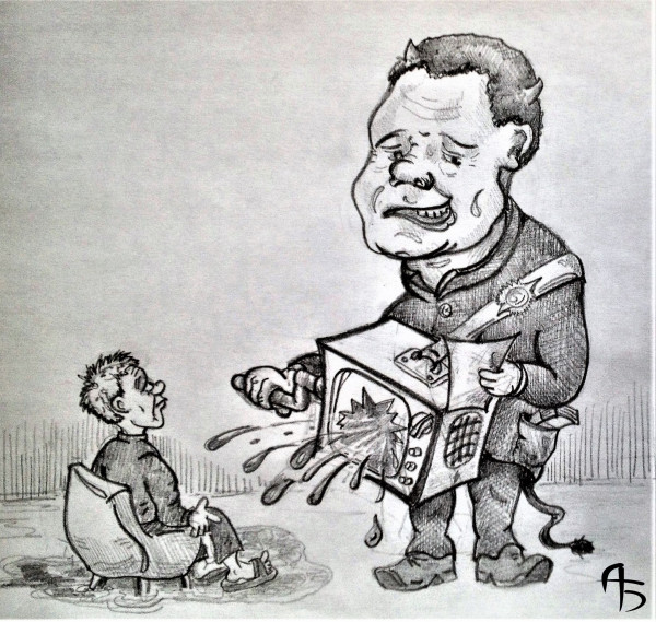 Карикатура: Шарманщик, backdanov