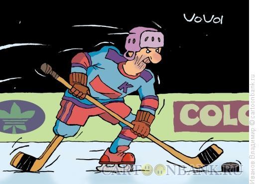 Карикатура: Одноногий хоккеист, Иванов Владимир