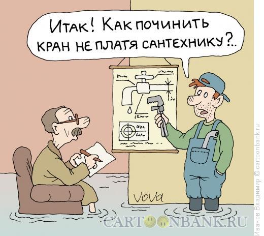 Карикатура: Лекция сантехника, Иванов Владимир