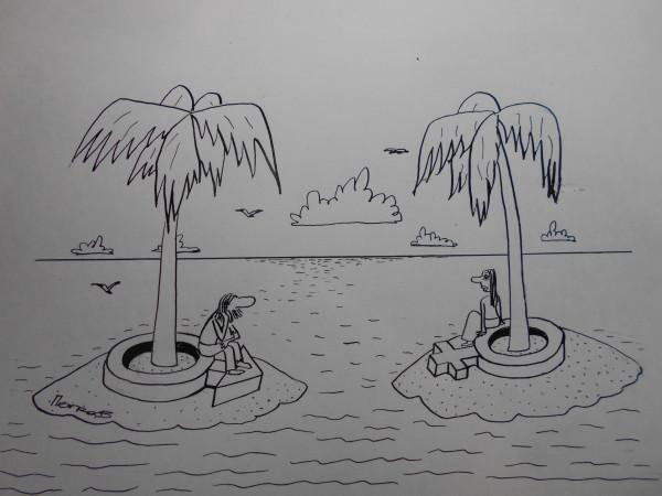Карикатура: Мужчина и женщина