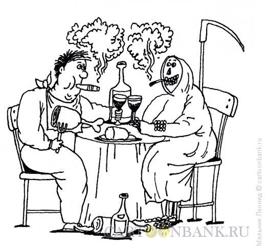Карикатура: За здоровье!, Мельник Леонид